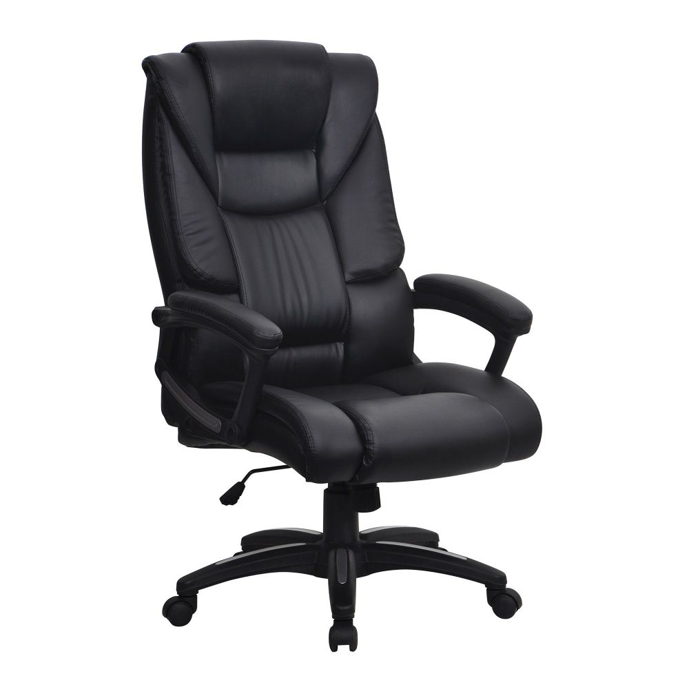 Titan. Black Leather Effect Executive Chair, Integrated Headrest
